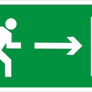 Направление к эвакуационному выходу направо