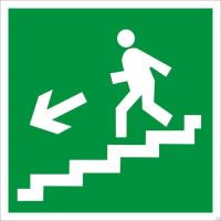 Направление к эвакуационному выходу по лестнице вниз (левосторонний)