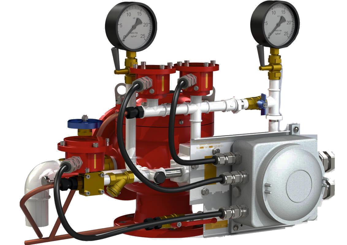 Узел управления с комбинированным приводом взрывозащищенный УУ-Д150/1,6(Р,Э220,Г0,07)-ВФ.У3.1